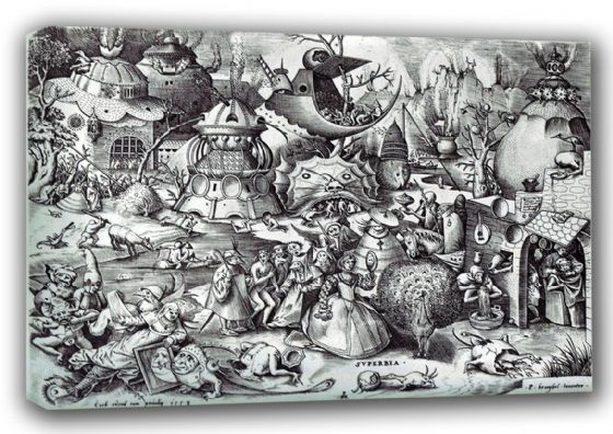 Bruegel the Elder, Pieter: Pride, The Seven Deadly Sins. Fine Art Canvas. Sizes: A3/A2/A1 (00874)